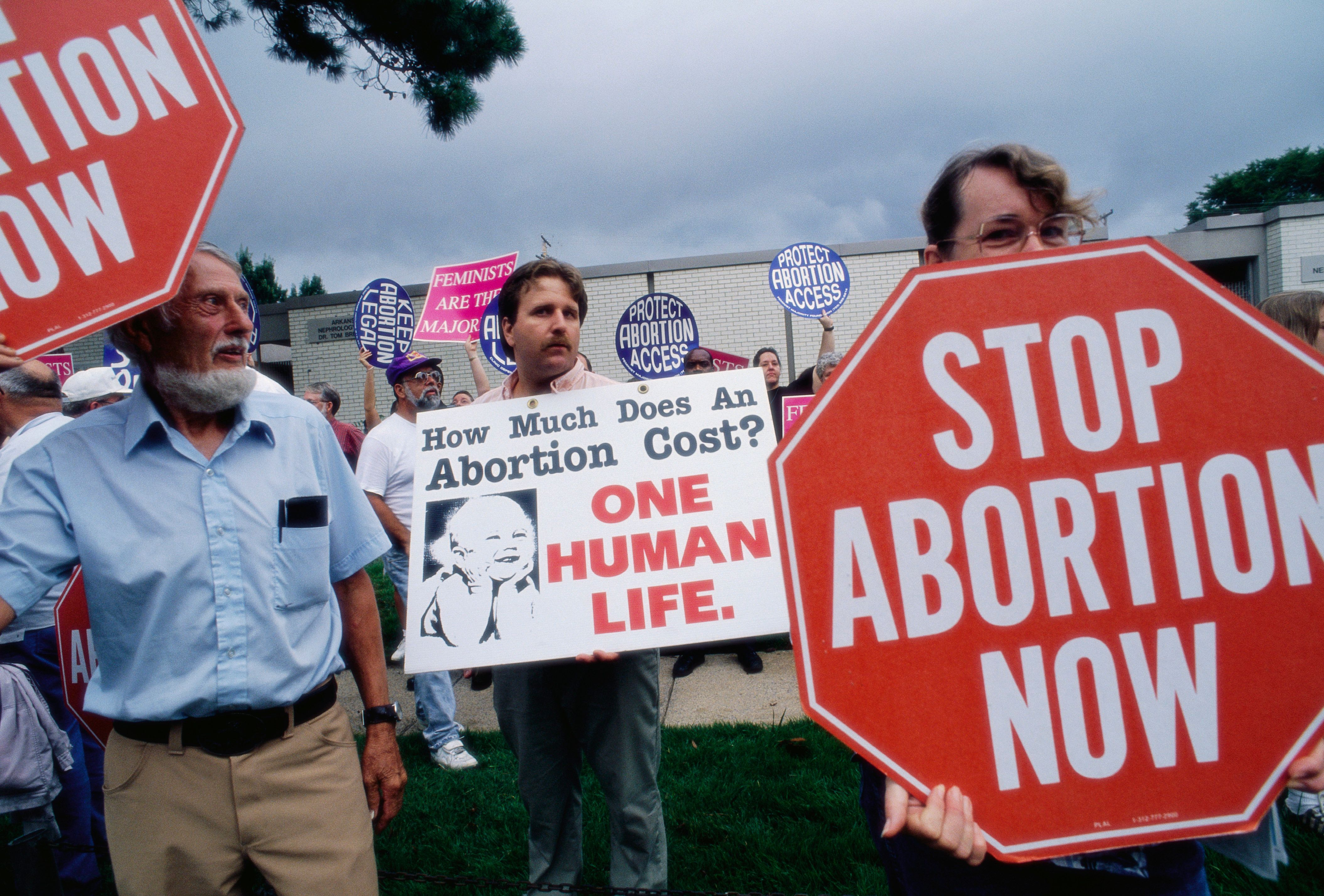 Members of the extreme anti-abortion groups Operation Rescue protest outside a clinic in Little Rock.