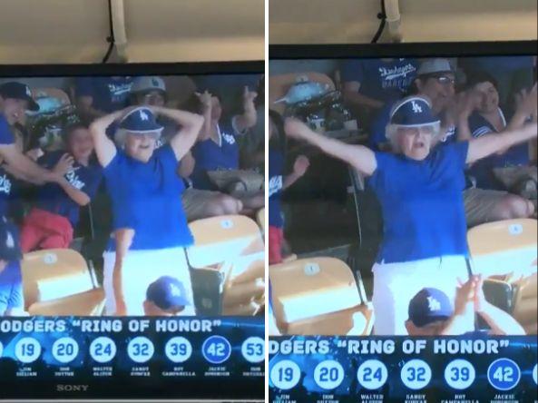 Elderly woman flashes Dodger Stadium