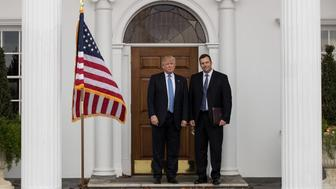 BEDMINSTER TOWNSHIP, NJ - NOVEMBER 20: (L to R) President-elect Donald Trump and Kris Kobach, Kansas secretary of state, pose for a photo following their meeting with president-elect at Trump International Golf Club, November 20, 2016 in Bedminster Township, New Jersey. Trump and his transition team are in the process of filling cabinet and other high level positions for the new administration.  (Photo by Drew Angerer/Getty Images)