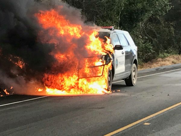 A police vehicle parked on Highway 154 is engulfed by flames of the Whittier wildfire near Santa Ynez, California on July 9,
