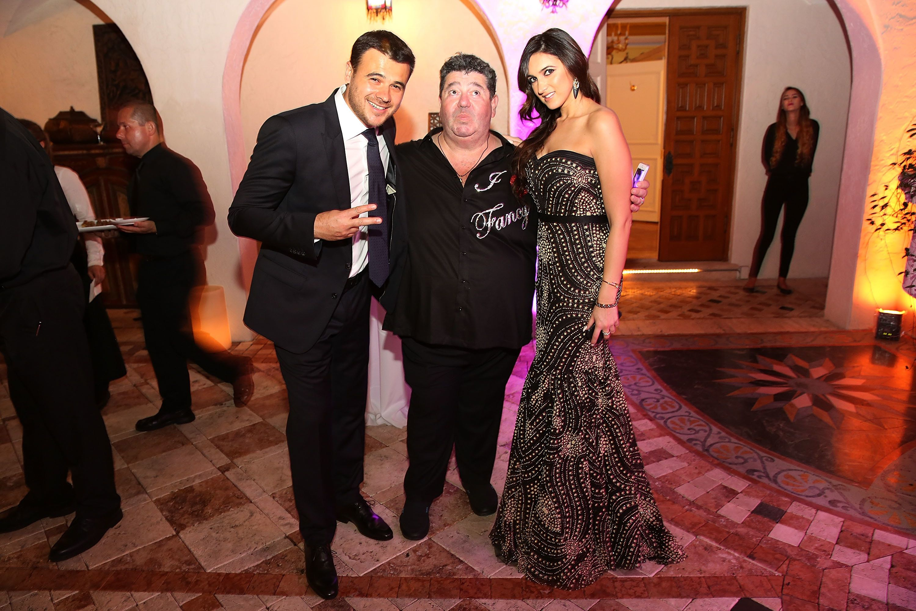 MIAMI BEACH, FL - DECEMBER 31: Emin Agalarov, Rob Goldstone and Sheila Agalarova attends New Years Eve And Birthday Party For Irina Agalarova at Barton G on December 31, 2014 in Miami Beach, Florida. (Photo by Aaron Davidson/Getty Images for Irina Agalarov)