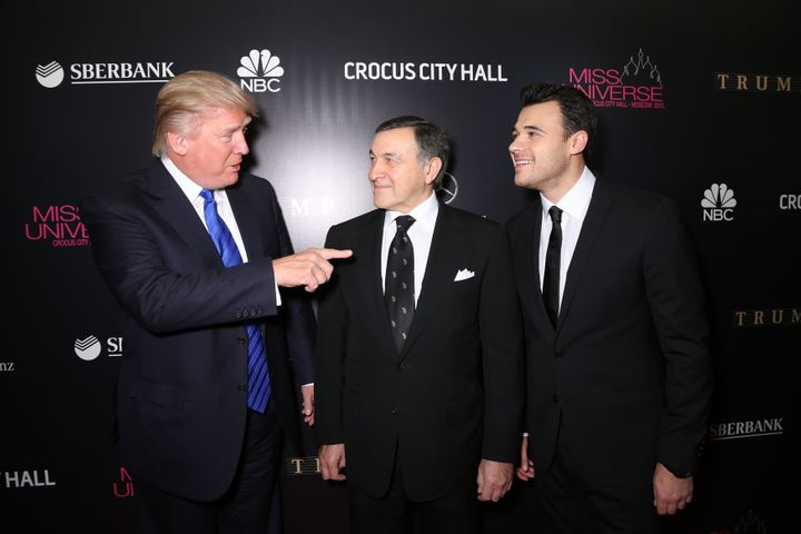Donald Trump, Aras Agalarov and his son Emin Agalarov onthe red carpet before the Miss Universe Pageant in Moscow on No