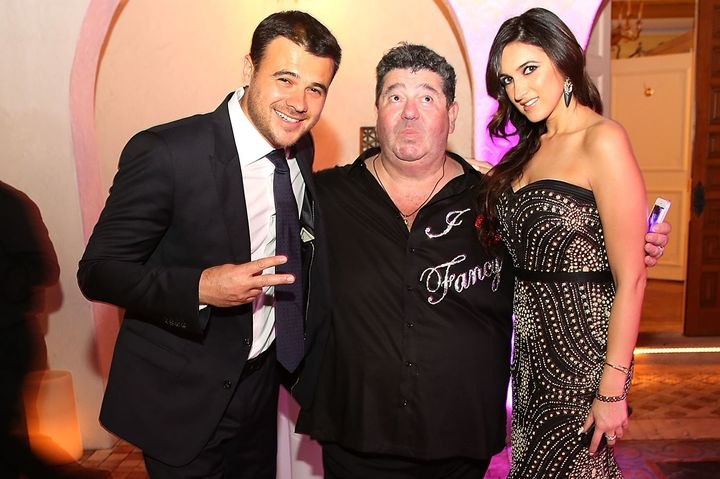 Singer Emin Agalarov, publicist Rob Goldstone and Emin's sister, Sheila Agalarova, at a New Year's Eve party in Miami Beach o