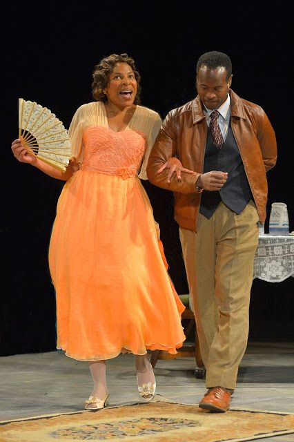 Karen Aldridge (Amanda) and Rafael Jordan (The Gentleman Caller) in a scene from <strong><em>The Glass Menagerie</em></strong