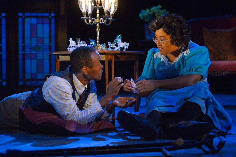 Rafael Jordan (The Gentleman Caller) and Phoebe Fico (Laura) in a scene from <strong><em>The Glass Menagerie</em></strong>