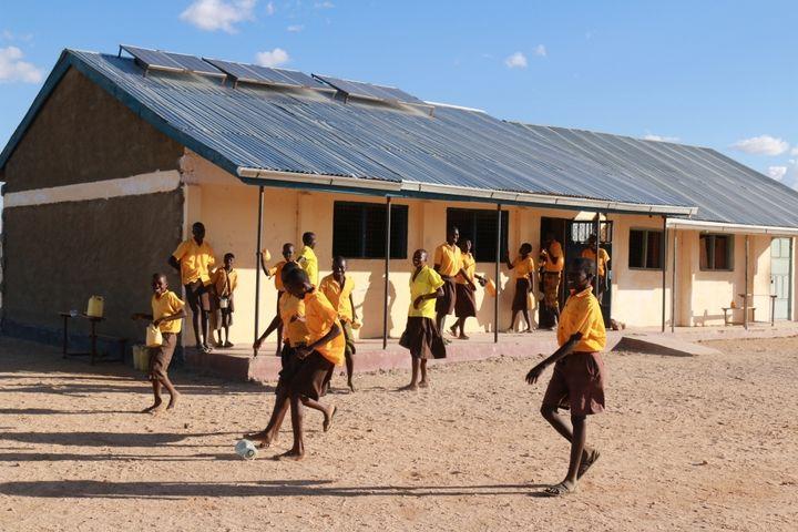 <em>Break time at Karoge Primary School.</em>