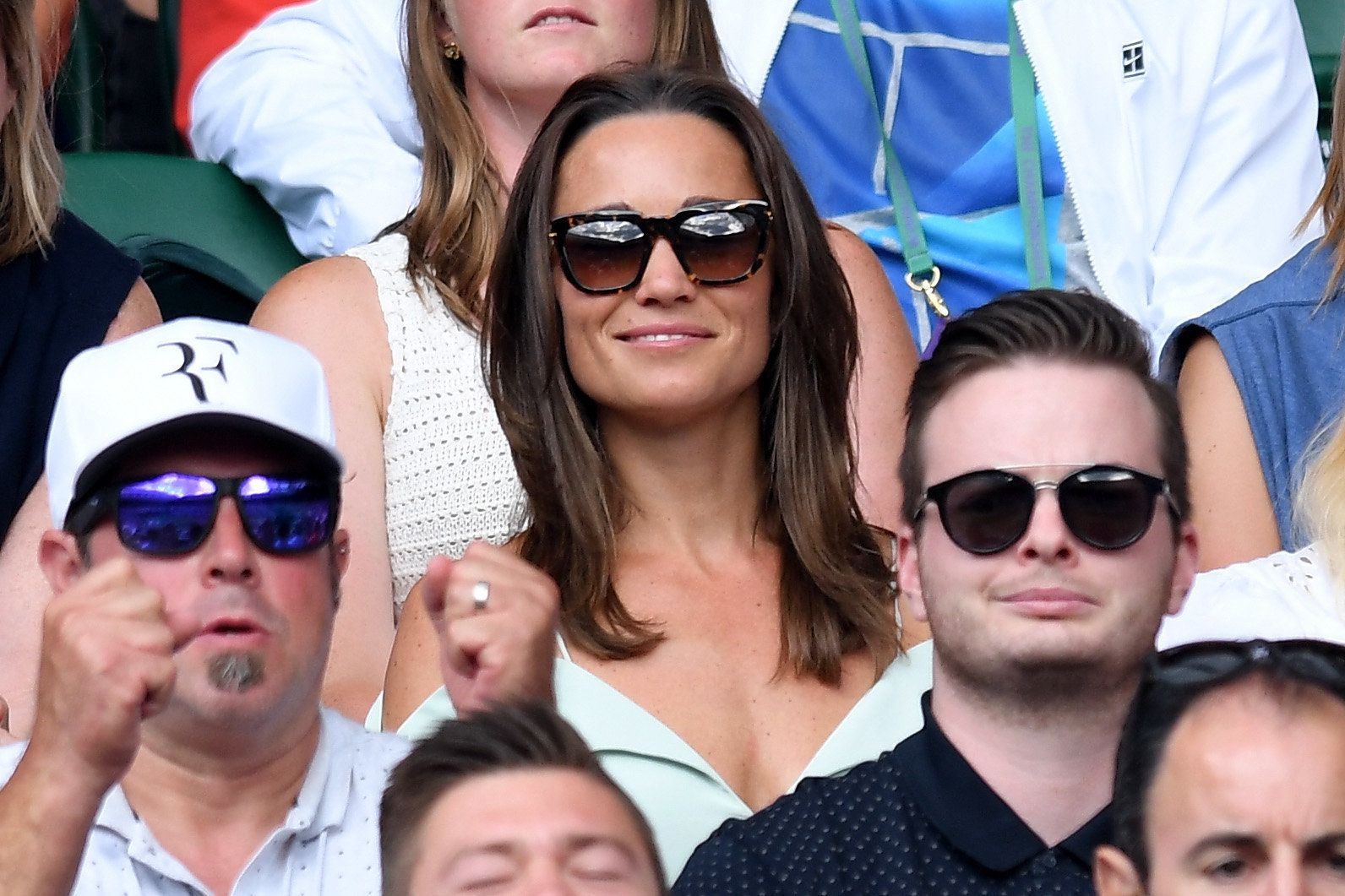 Pippa Middleton and guest attend day seven of the Wimbledon Tennis Championships at the All England Lawn...