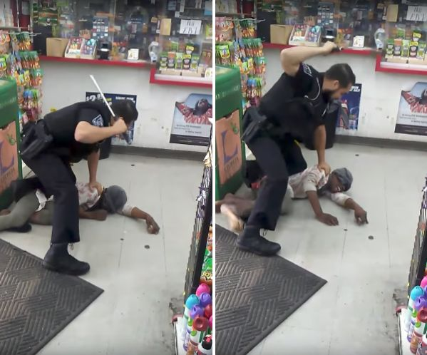 Newly released video captured the officer repeatedly beating the woman with a baton.