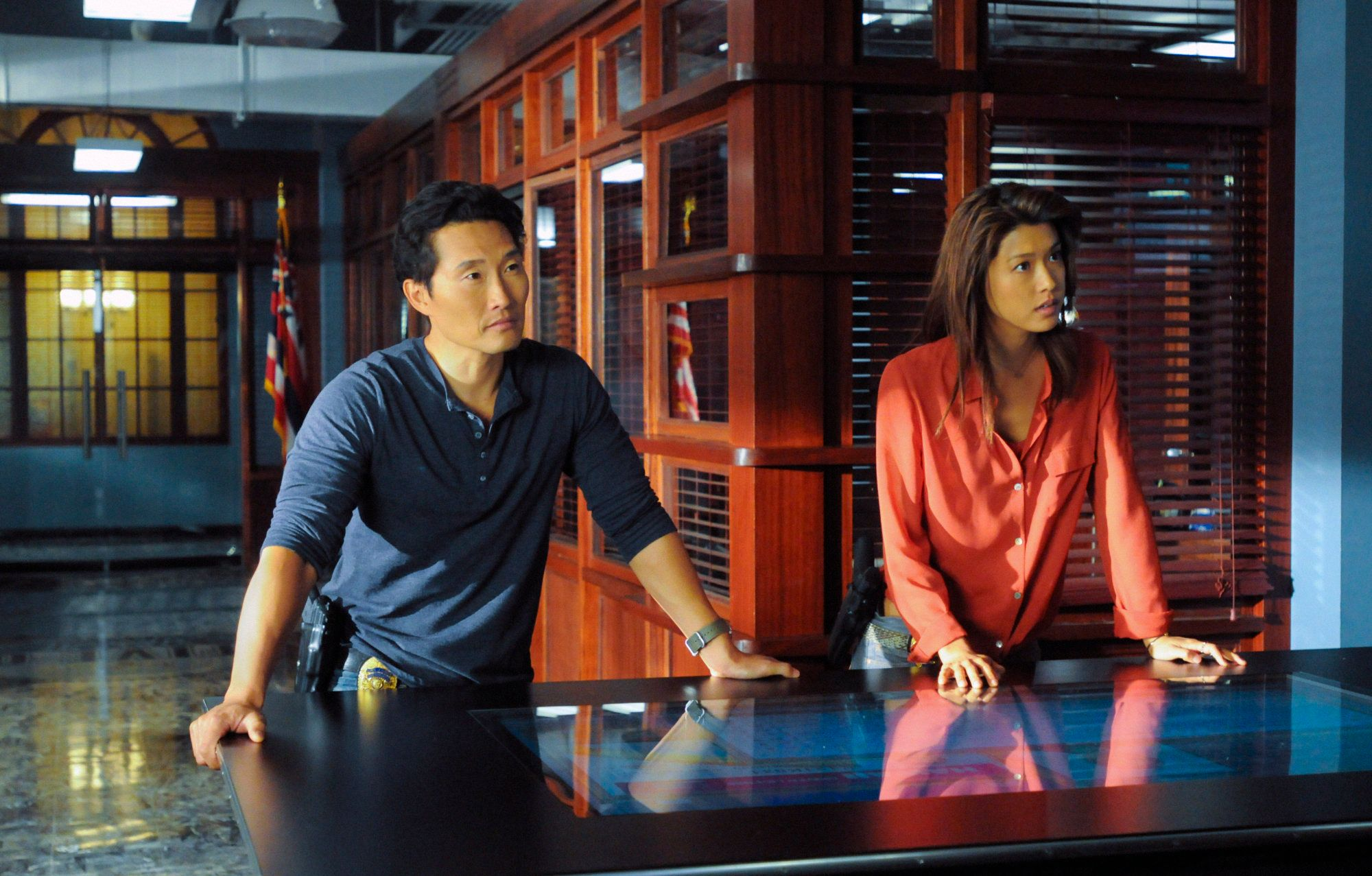 HONOLULU - SEPTEMBER 12: 'Ohuna' -- The team (Daniel Dae Kim, left and Grace Park, right) investigates the murder of a young computer hacker, on HAWAII FIVE-0, Monday, Nov. 19 (10:00-11:00 PM, ET/PT) on the CBS Television Network.   (Photo by Norman Shapiro/CBS via Getty Images)