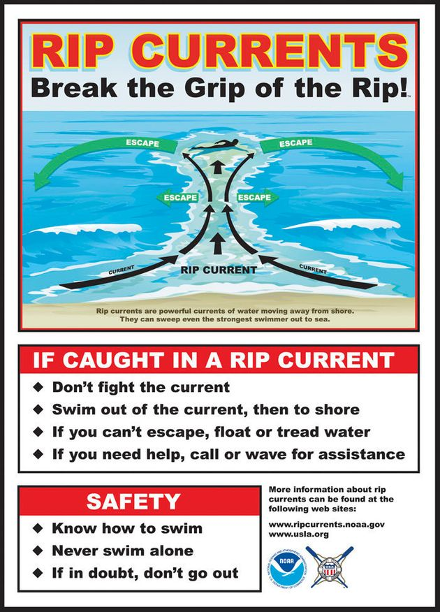 The National Ocean Service advise people who find themselves trapped in a rip current to not fight the...