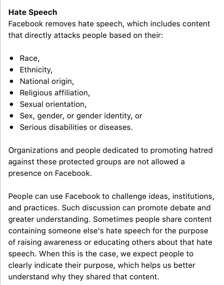 "Facebook's Community Standards on ""Hate Speech"""