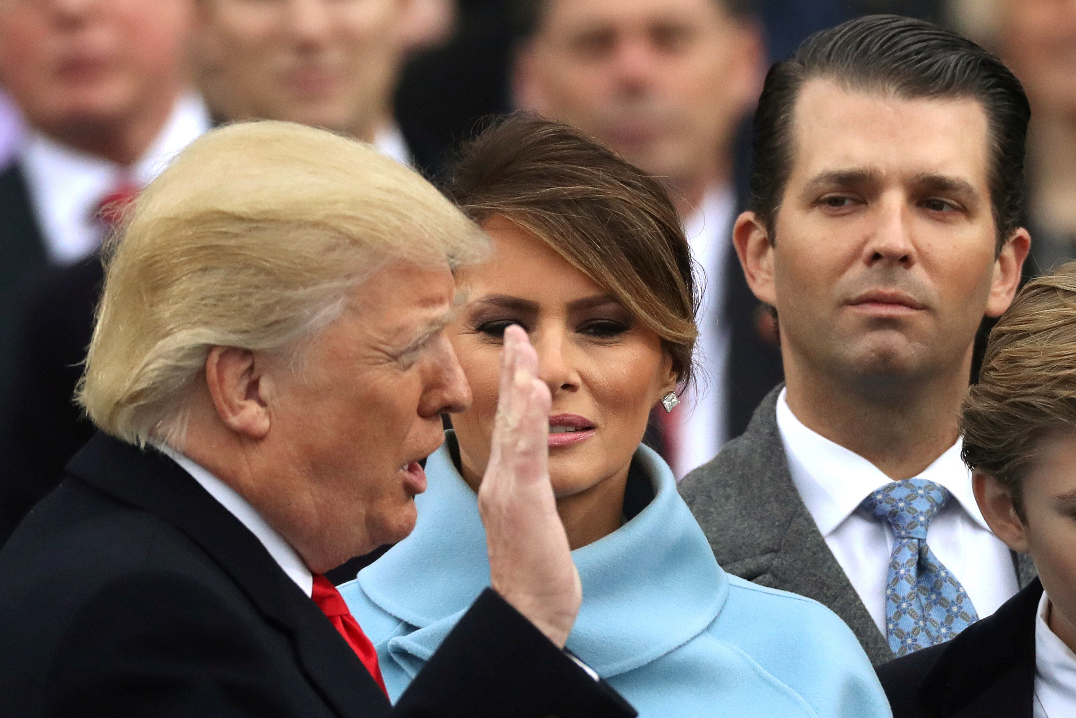 Donald Trump Jr. watches as his father, Donald Trump, is sworn in as the 45th president of the United States.