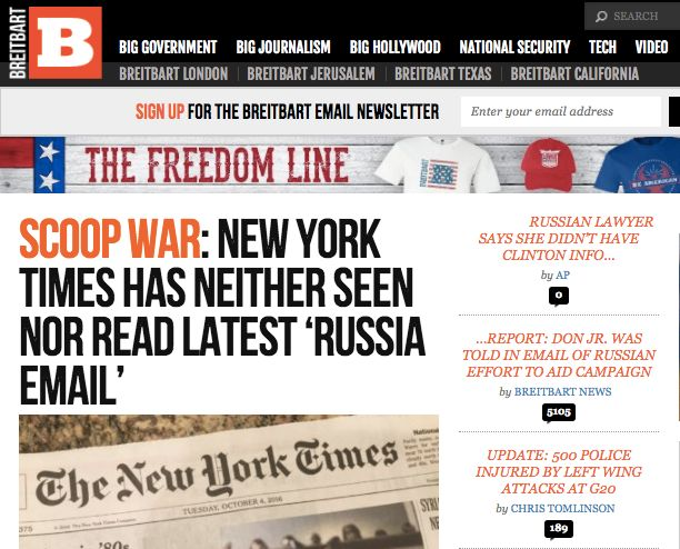 Breitbart News downplayed The New York Times' Monday scoop.