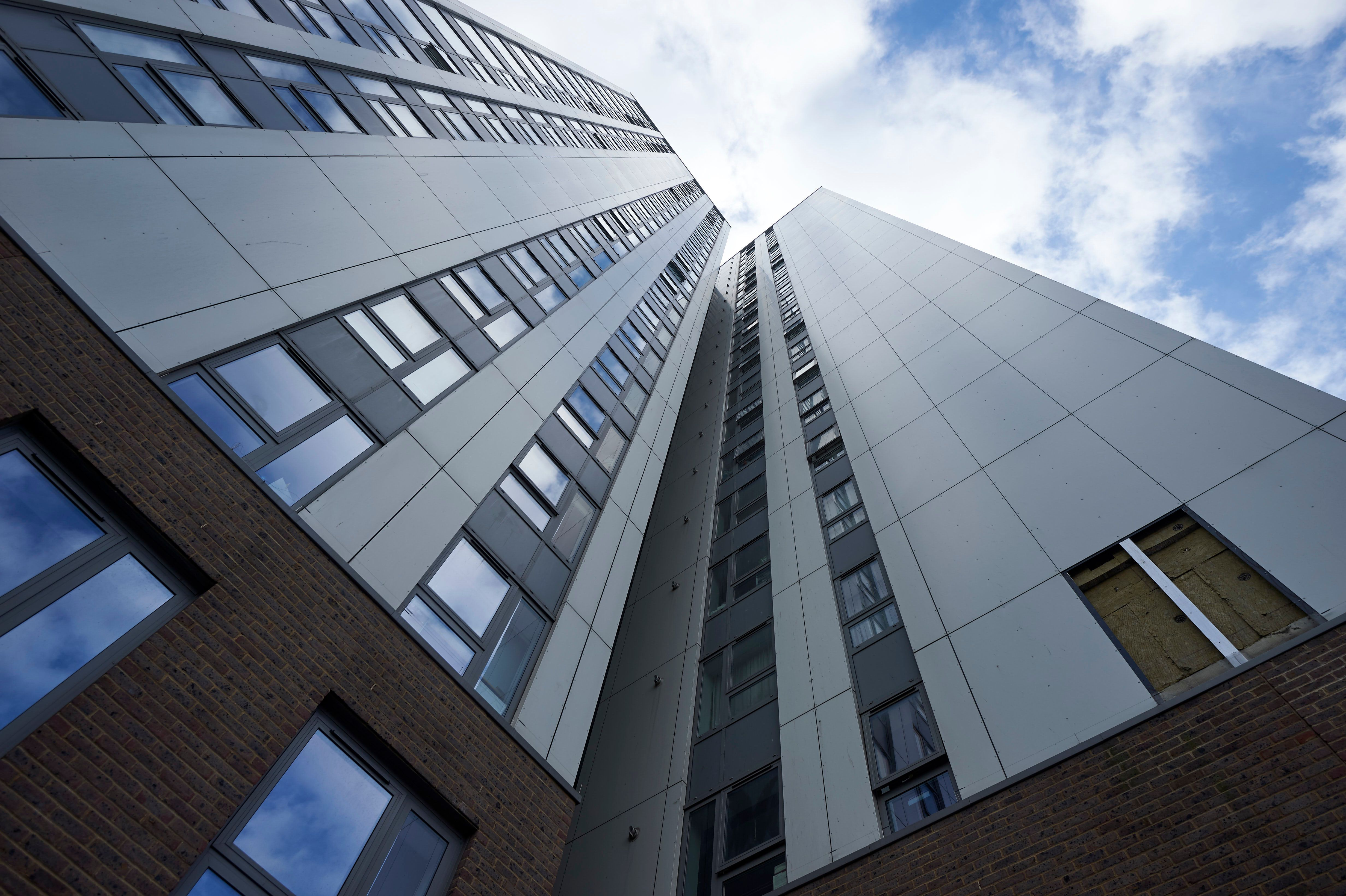 External cladding was removed from Bray residential tower block on the Chalcots Estate in north