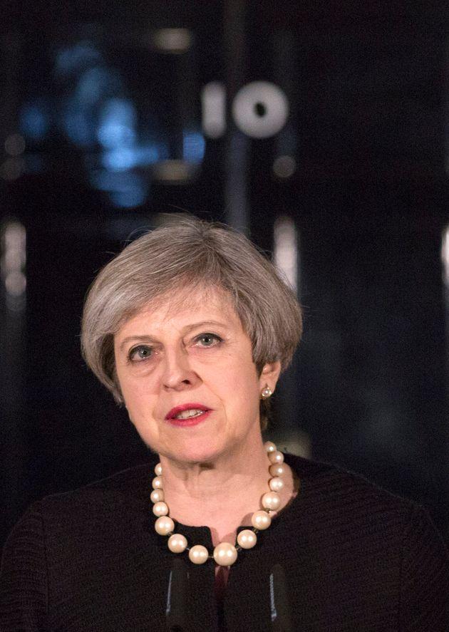 Prime Minister Theresa May outsideDowning