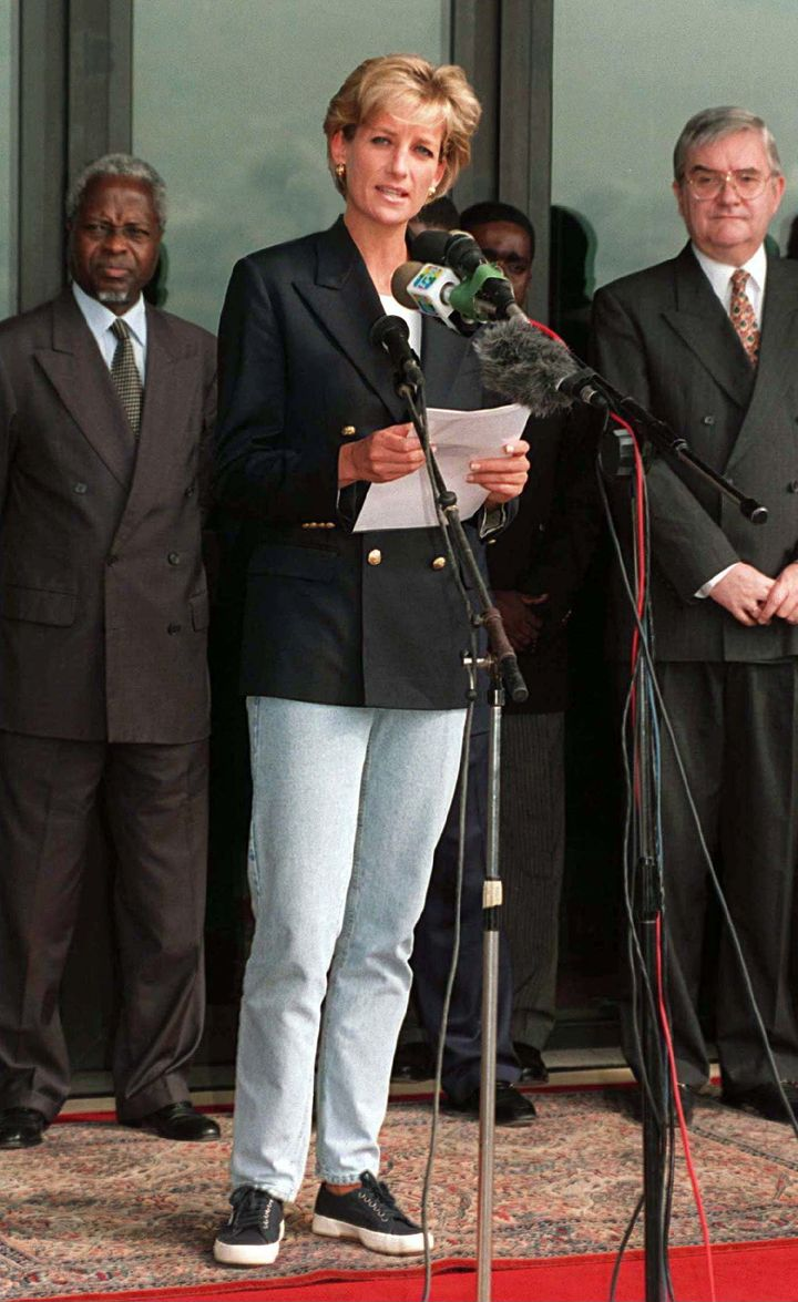 """In 1997,&nbsp;Princess Diana wore&nbsp;her Supergas on&nbsp;a&nbsp;<a href=""""http://www.travelandleisure.com/style/shoes/princess-diana-kate-middleton-sneakers"""" target=""""_blank"""">Red Cross mission to Angola</a>."""