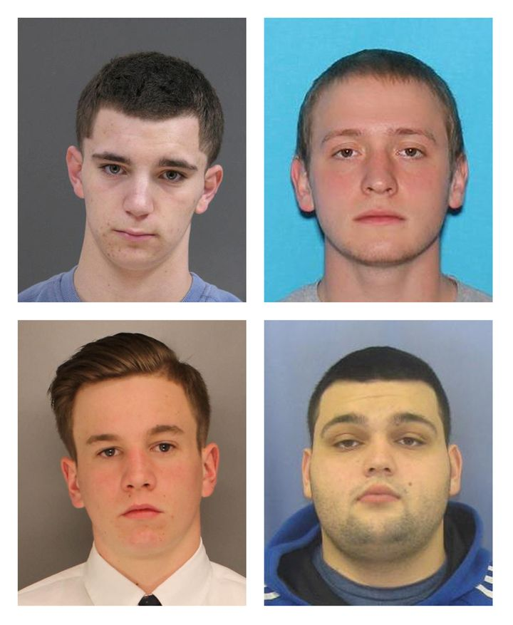 Bucks County District Attorney's Office photos show L-R, top row: Dean Finocchiaro, 18, and Tom Meo, 21, L-R bottom row: Jimi