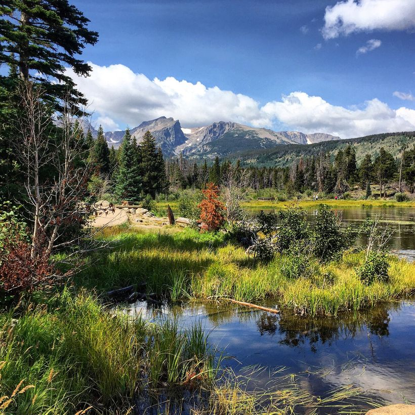 Sprague Lake is one many places that rangers give guided tour hikes in Rocky Mountain National Park.