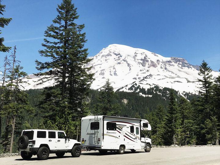 Driving through Mount Rainier National Park in June