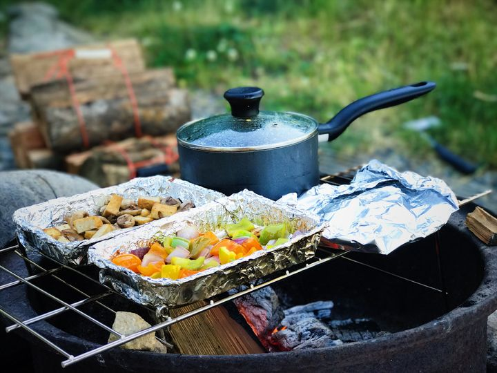 <p>Cooking on the campfire - this was Korma night</p>
