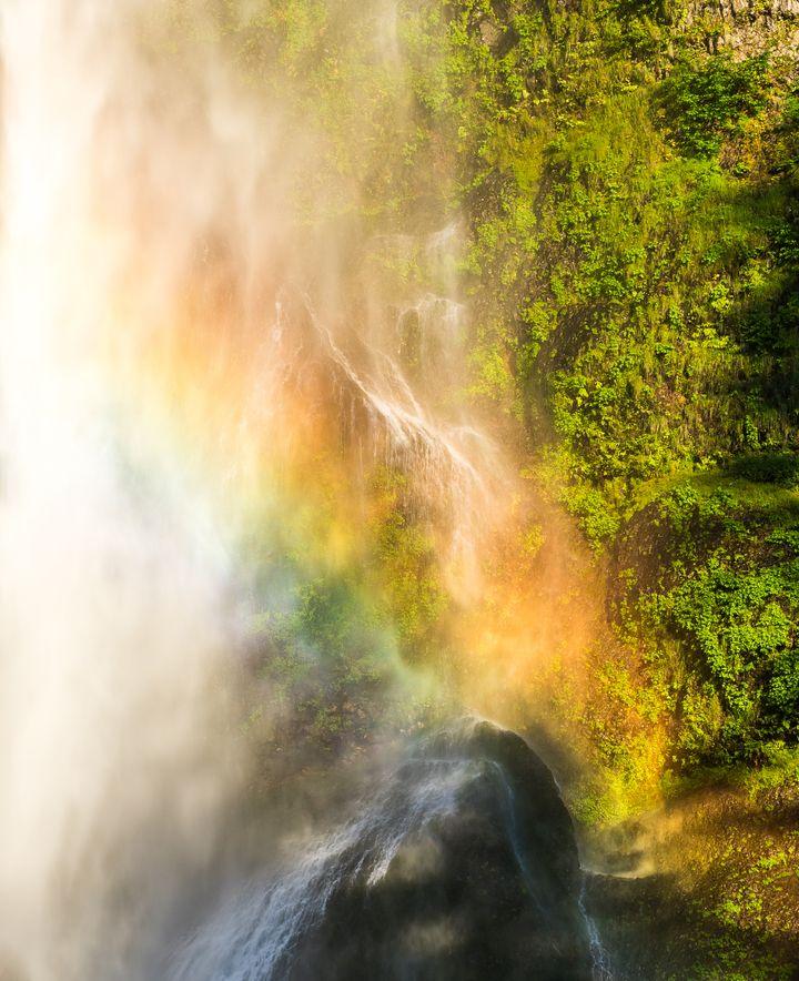 A Rainbow at Multnomah Falls, Oregon