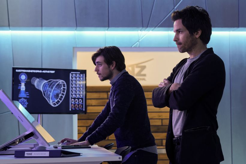 Charlie Rowe as Liam and Santiago Cabrera as Darius, two geniuses who are on a deadline to save humanity.