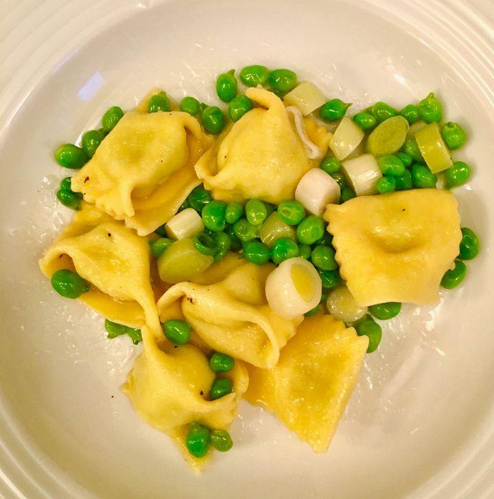 Peas and the summer's first leeks with ricotta-pea-mint agnolotti/ravioli