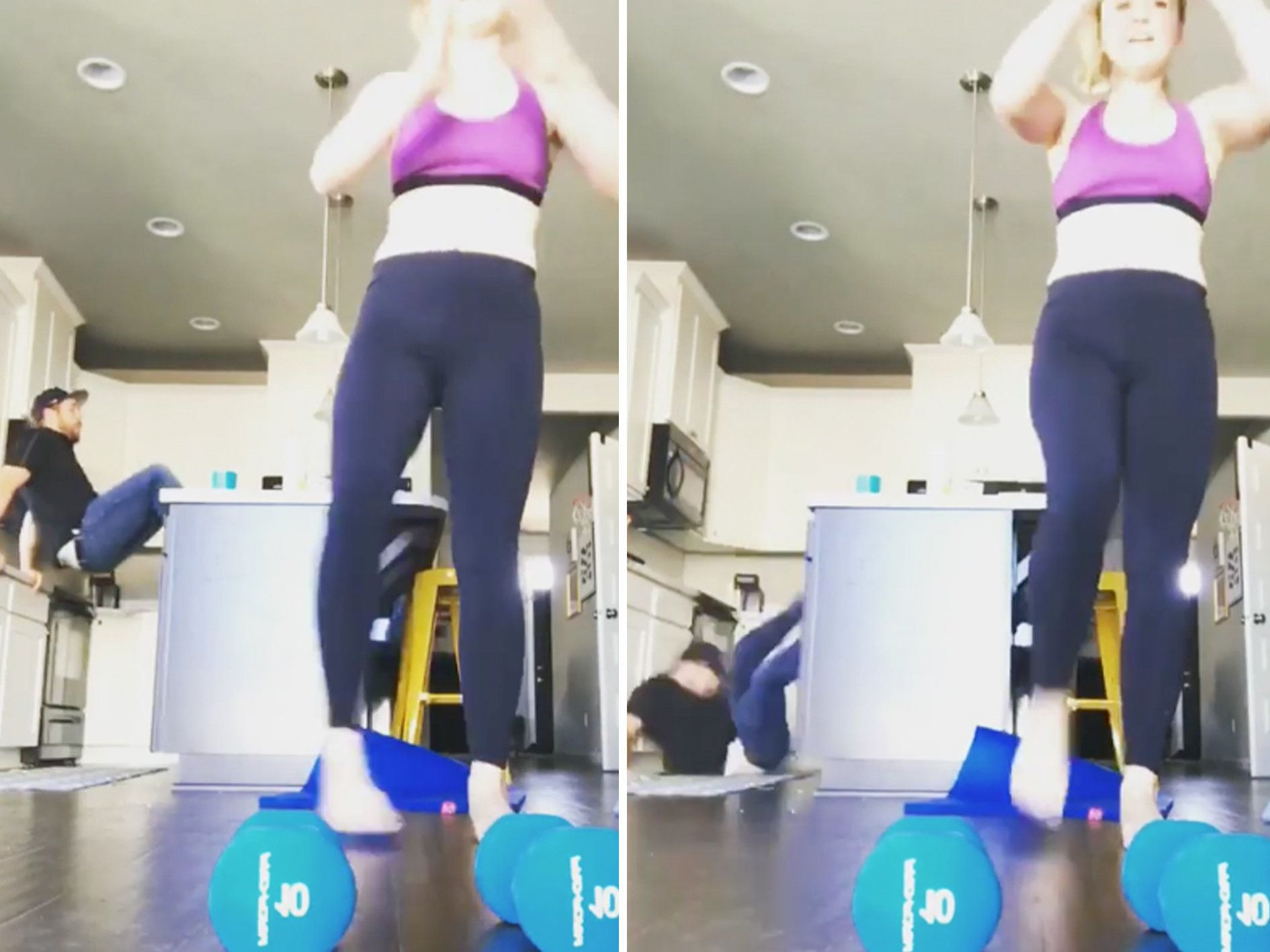 Guy Attempts To Photobomb Wife's Workout Video, Screws Up Big