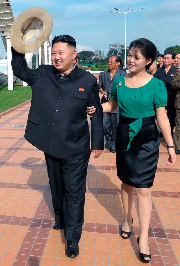 Kim and Ri pictured at a North Korean theme park in