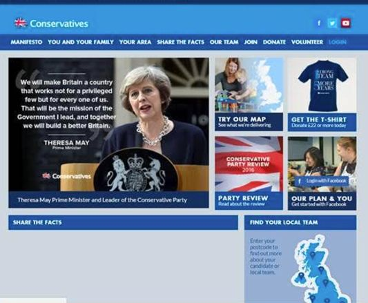 The Conservative website on July 14 2016 - the day after Theresa May became Prime