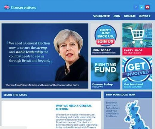 The Conservatives website on April 26 2017 - during the General Election