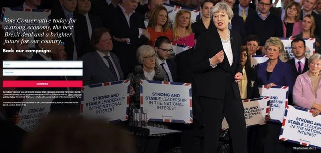 The Conservative Party website on June 8 2017 - the day of the General