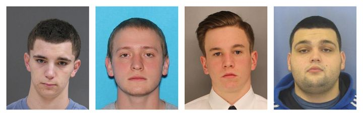 From left to right, Bucks County District Attorney's Office photos show: Dean Finocchiaro, 18, Tom Meo, 21, Jimi Patrick, 19,