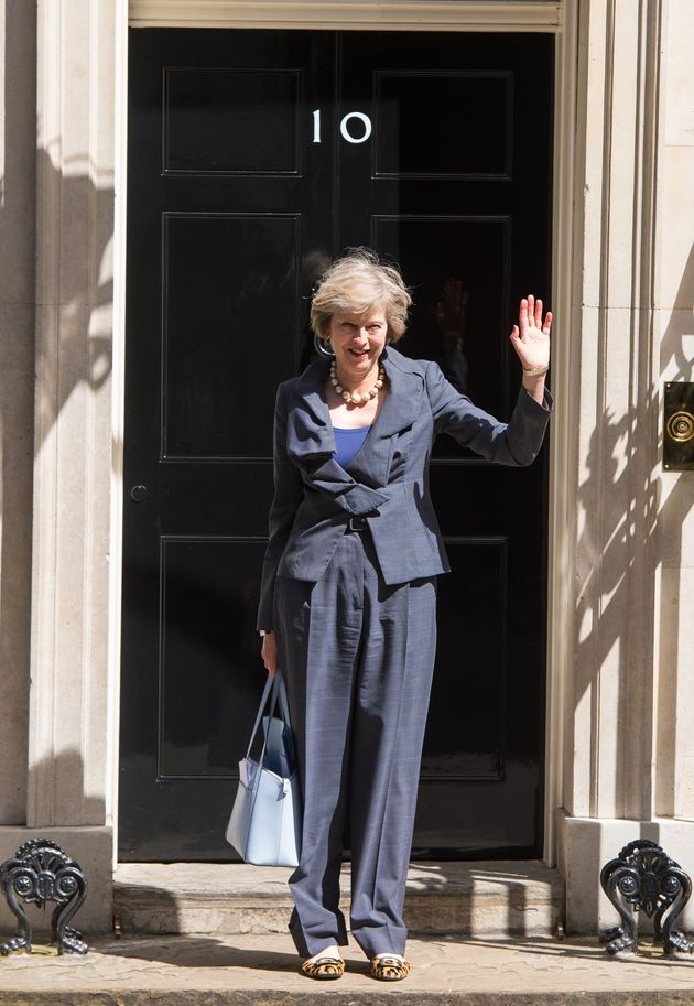 Theresa May outside Downing Street in July