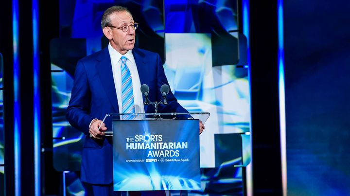 RISE founder Stephen M. Ross accepts the Stuart Scott ENSPIRE Award on Tuesday at ESPN's third annual Sports Humanitarian Awa