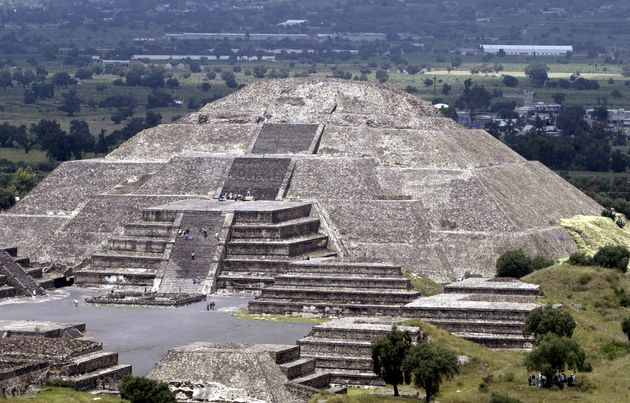 An aerial view of The Pyramid of the Moon at Mexico's Teotihuacan archeological