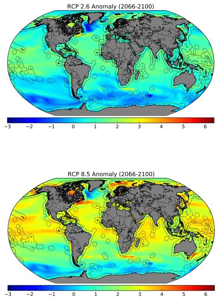 Projected sea temperatures, best- and worst-case scenarios. Black outlines show Exclusive Economic Zones, where the vast majo