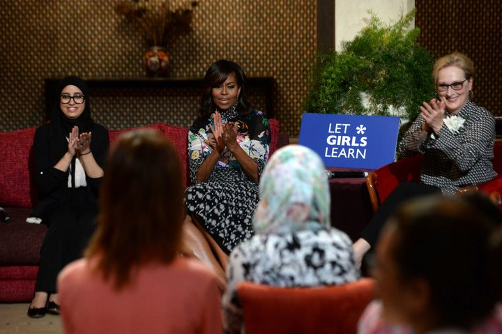 Former first lady Michelle Obama and actress Meryl Streep applaud as they meet with Moroccan young women following the 'Let Girls Learn' Program on June 28, 2016