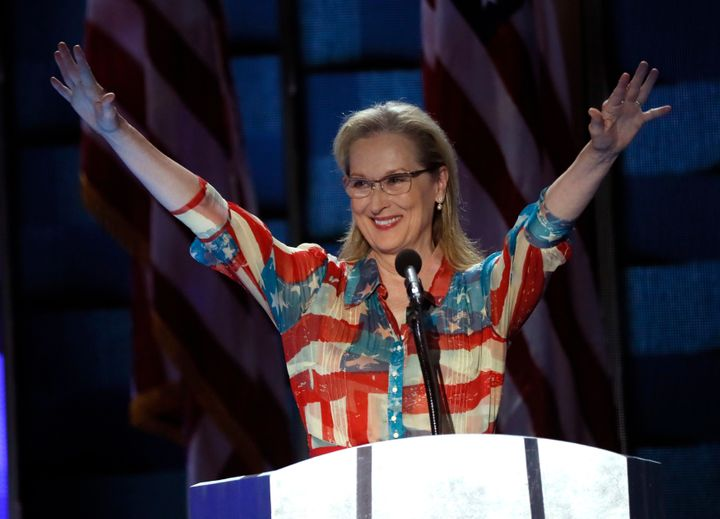 Meryl Streep speaks at the Democratic National Convention in Philadelphia, PAon July 26, 2016.