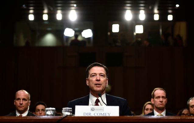 Former FBI Director James Comey testifies during a US Senate Select Committee on Intelligence hearing on Capitol Hill in Washington, DC, June 8, 2017. Fired FBI director James Comey took the stand Thursday in a crucial Senate hearing, repeating explosive allegations that President Donald Trump badgered him over the highly sensitive investigation Russia's meddling in the 2016 election. / AFP PHOTO / Brendan Smialowski        (Photo credit should read BRENDAN SMIALOWSKI/AFP/Getty Images)