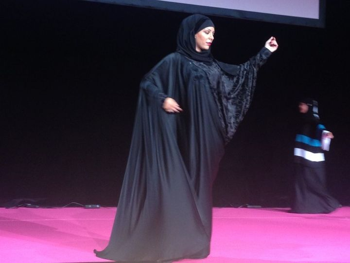 A fashion show in a French 'Muslim women' fair in Pontoise.'