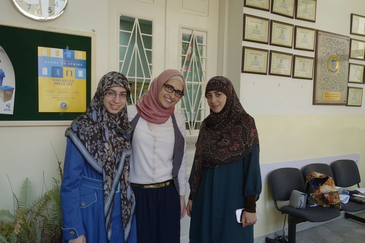 Students in Beirut, with the girl in the middle wearing her veil in the 'Sunni' style.