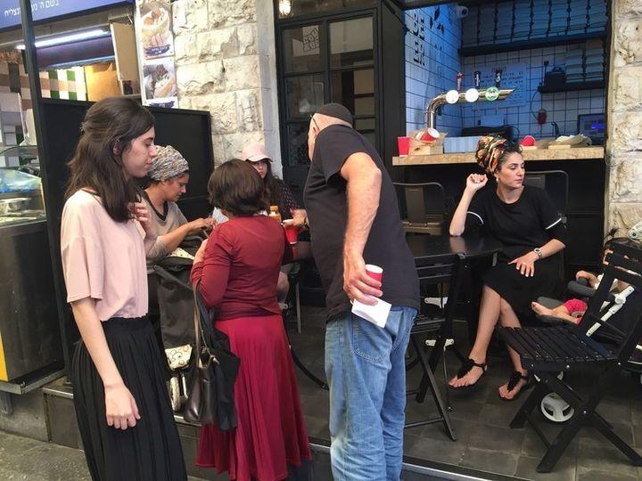 Orthodox Jewish women wearing headgear in Jerusalem, Israel.