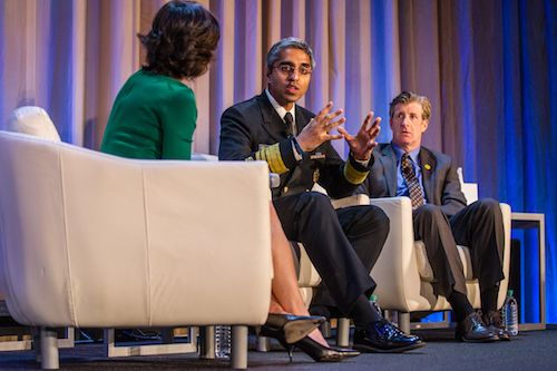 Elizabeth Vargas, Dr. Vivek Murthy, and Former US Rep. Patrick Kennedy at the 2016 Kennedy Forum Annual Meeting.