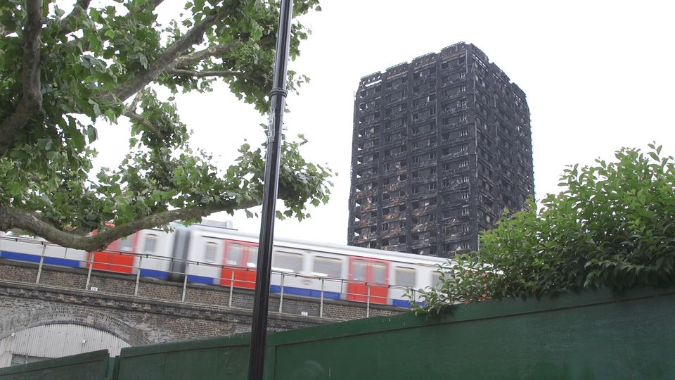 Tube trains continue to run near the burnt out remains of Grenfell