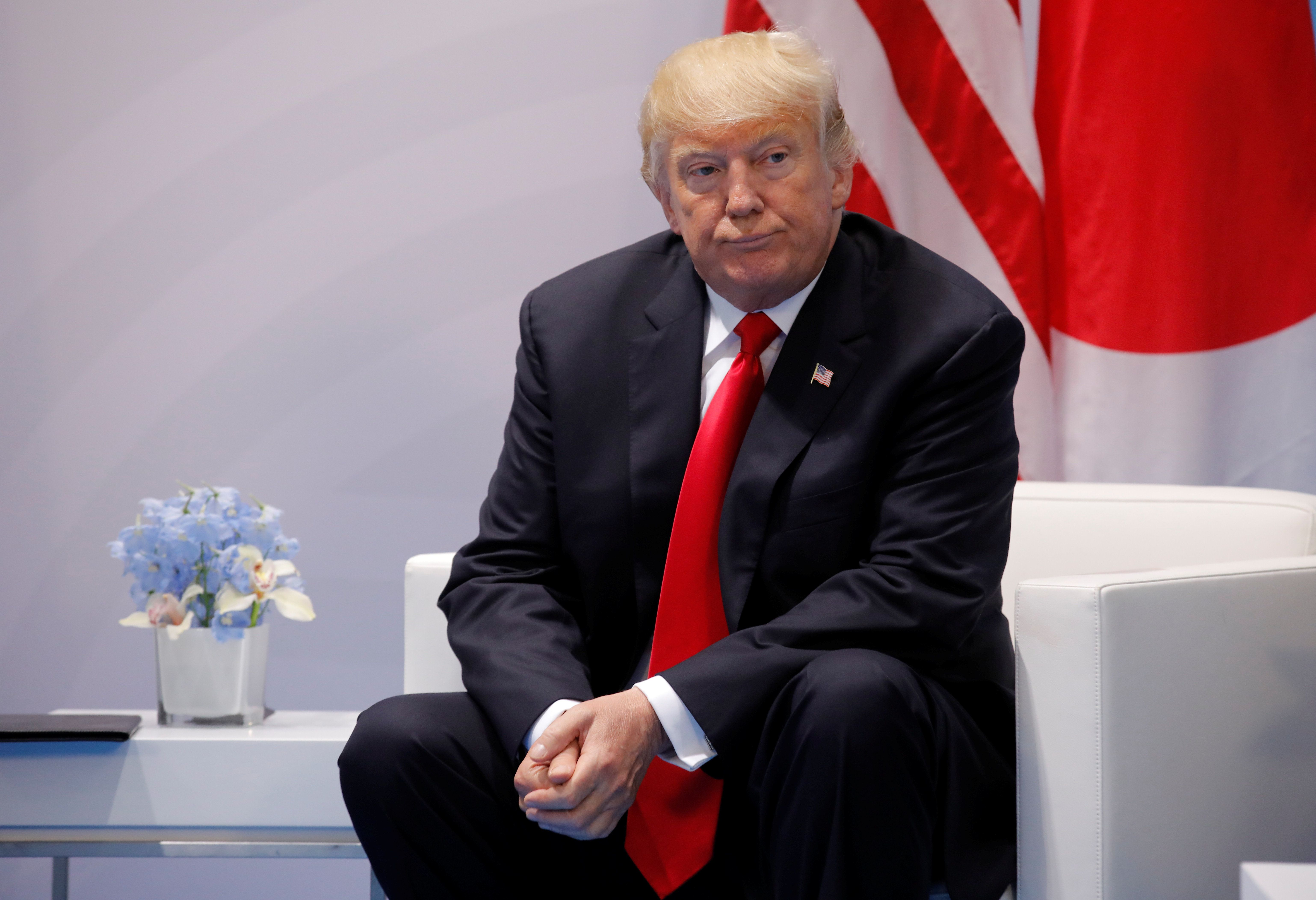 U.S. President Donald Trump is seen during the bilateral meeting with Japanese Prime Minister Shinzo Abe at the G20 leaders summit in Hamburg, Germany July 8, 2017. REUTERS/Carlos Barria