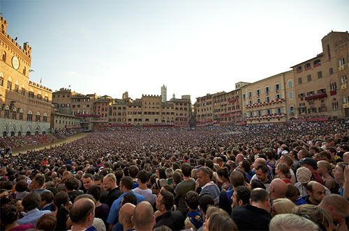 The Palio is a big tradition in Siena and draws huge crowds