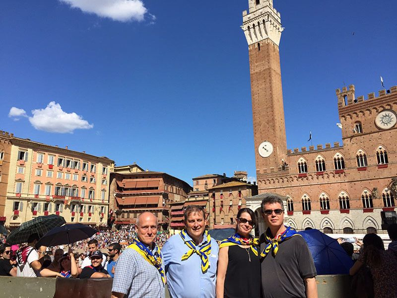 Here we are sporting Tartuca blue and gold as we entered the Piazza del Campo for last Sunday's race