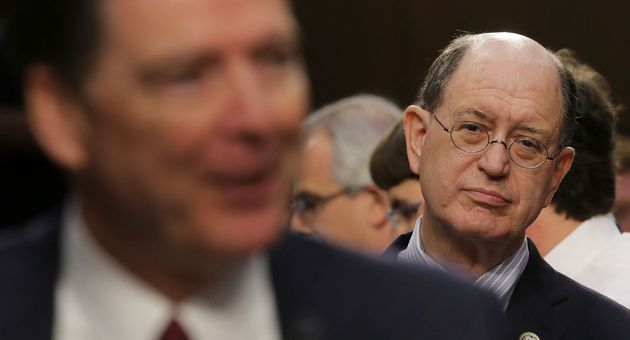 Rep. Brad Sherman (D-Calif.) listens to former FBI Director James Comey testify before the Senate intelligence...