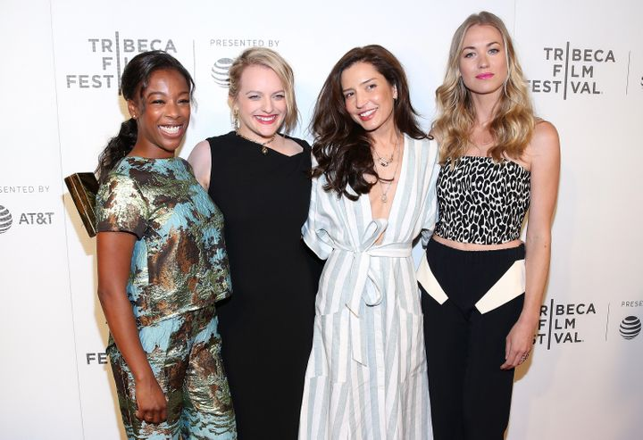 "Samira Wiley, Elisabeth Moss, Reed Morano and Yvonne Strahovski attend the premiere of ""The Handmaid's Tale"" during Tribeca Film Festival."